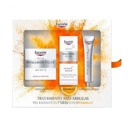 Cofre Eucerin Hyalluron Filler Piel Seca Crema Dia+ Contorno + Booster Vitamina C