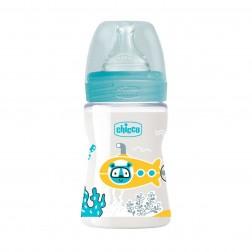 Biberon Chicco Silicona Fisiologico Azul Flujo N 0m+ 150 ml