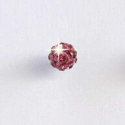 Bijoux Pendiente Hipoalergenico Bola Cristal Rosa