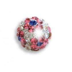 Bijoux Pendiente Hipoalergenico Bola Flor Cristal Rosa-Blanco 6 mm