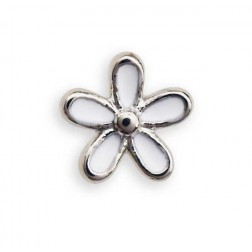Bijoux Pendiente Hipoalergenico Flor Primavera Blanco 8 mm