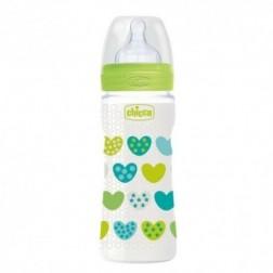 Biberon Chicco Silicona Fisiologico Verde Flujo R 4m+ 330 ml