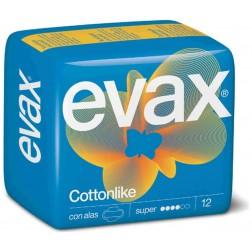 Compresas Evax Cottonlike Super con Alas 12 unid
