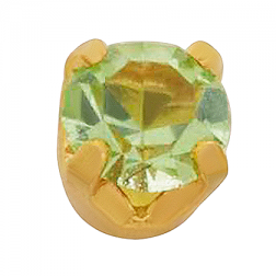 Pendiente Inverness 24K 88C Solitario Cristal Verde 3 mm