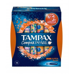 Tampon Tampax Compack Pearl Super Plus 18 unid
